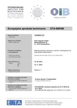 Europejska aprobata techniczna Thermofloc