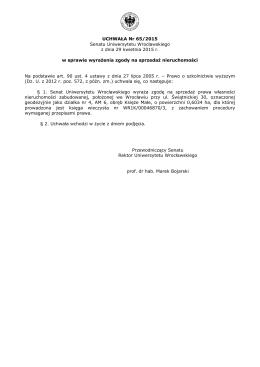 UCHWAŁA Nr 65/2015 Senatu Uniwersytetu Wrocławskiego z dnia