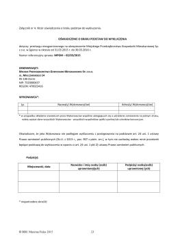 Załącznik nr 4 - Wzór oświadczenia o braku podstaw do