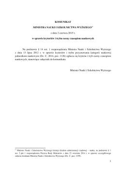 20150602 Komunikat Ministra Nauki i Szkolnictwa Wyższego z dnia