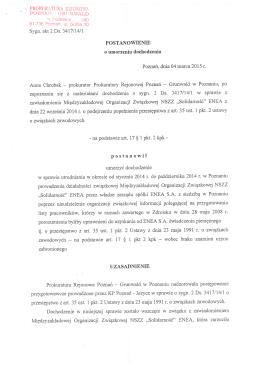 Umorzenie postępowania przez Prokuraturę III 2015