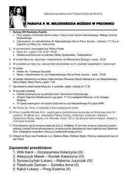 Zapowiedzi przedślubne: 1. Wilk Karol – Szczepańska Katarzyna (III
