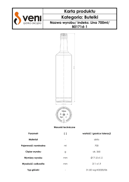 Karta produktu Kategoria: Butelki