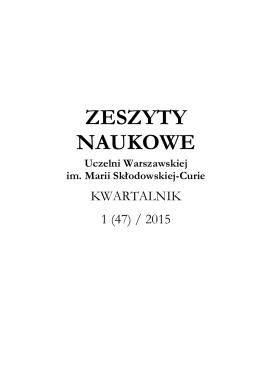 zeszyty naukowe - Uczelnia Warszawska im Marii Skłodowskiej