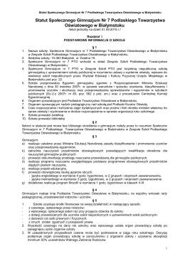 Statut SG7 - Zespół Szkół PTO