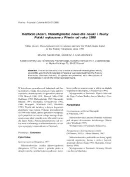 Roztocze (Acari, Mesostigmata) nowe dla nauki i fauny Polski