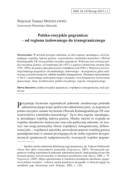 Polsko-rosyjskie pogranicze - Środkowoeuropejskie Studia Polityczne