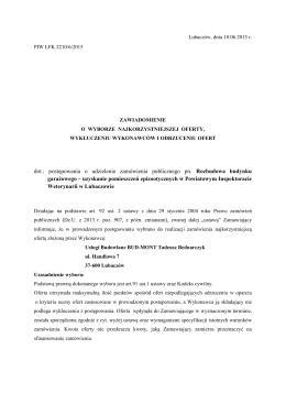 dot.: postępowania o udzielenie zamówienia publicznego pn