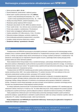 Bezinwazyjne przepływomierze ultradźwiękowe serii NFM100H