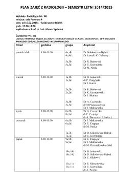PLAN ZAJĘĆ Z RADIOLOGII – SEMESTR LETNI 2014/2015