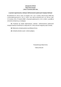 Uchwała Nr X/79/15 Rady Gmina Santok z dnia 17 września 2015