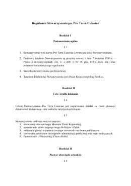 Regulamin Stowarzyszenia pn. Pro Terra Cuiaviae
