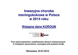 Inwazyjna choroba meningokokowa w Polsce w 2014 roku
