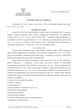 Rozstrzygnięcie nadzorcze Nr NPII.4131.1.462.2015 z dnia 10