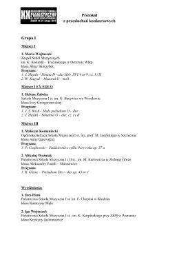 Protokół z przesłuchań konkursowych Grupa I