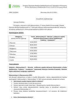 Harmonogram szkoleń: 23.01.2015 06.02.2015 13.02.2015