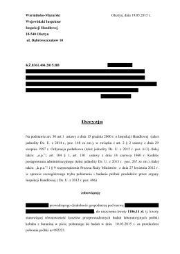 Decyzja 3 - Wojewodzki Inspektorat Inspekcji Handlowej w Olsztynie