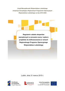 Regulamin udziału ekspertów - RPO WL