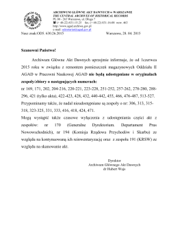pismo Dyrektora AGAD - Archiwum Główne Akt Dawnych