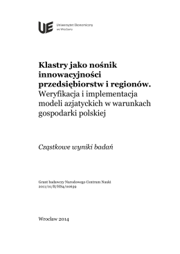 Cząstkowe wyniki badań - Klastry jako nośnik innowacyjności
