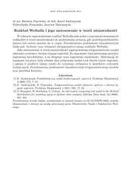Rozkład Weibulla i jego zastosowanie w teorii
