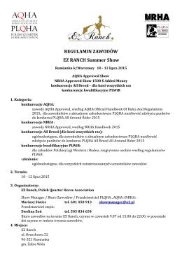 Regulamin zawodów - Polish Quarter Horse Association