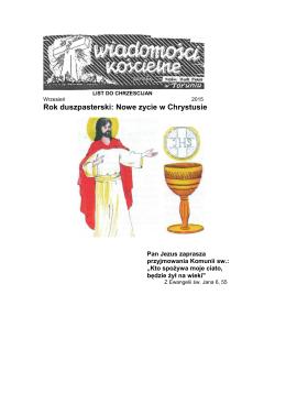 Rok duszpasterski: Nowe zycie w Chrystusie
