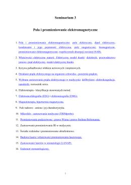Seminarium 3 Pola i promieniowanie elektromagnetyczne