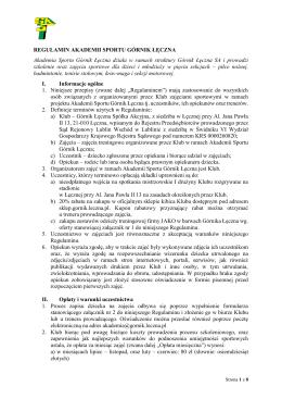 Regulamin Akademii Sportu Górnik Łęczna