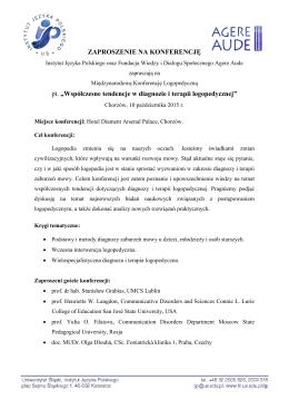 """ZAPROSZENIE NA KONFERENCJĘ pt. """"Współczesne"""