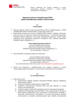 """Regulamin Konkursu Fotograficznego SPPW """"SWISS"""