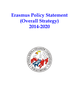 Erasmus Policy Statement (Overall Strategy) 2014-2020