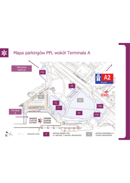 Mapa parkingów PPL wokół Terminala A