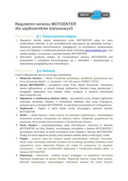 Regulamin serwisu MOTOENTER dla użytkowników biznesowych