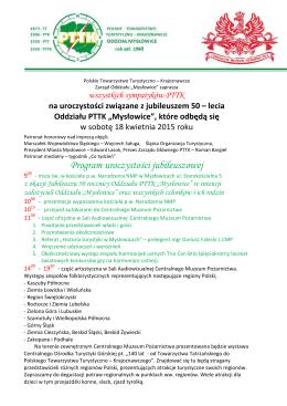 Program obchodów Jubileuszu 50 lat PTTK Mysłowice