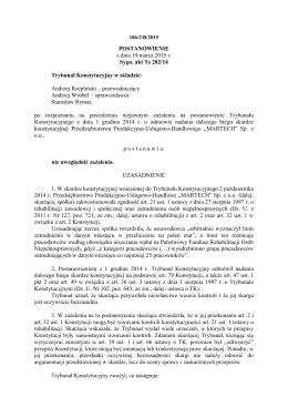 POSTANOWIENIE z dnia 19 marca 2015 r. Sygn. akt Ts 282/14