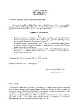 Uchwała Nr IV/26/15 Rady Gminy Santok z dnia 29.01.2015r. w