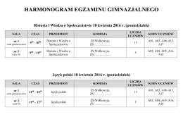 Harmonogram egzaminu gimnazjalnego 2016 r.