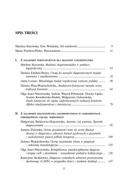 Metody i narzędzia diagnostyczne w logopedii - spis treści