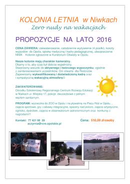 Ulotka KOLONIA w Niwkach 2016