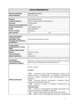 Komunikacja językowa - prof. Rypel - Instytut Filologii Polskiej i