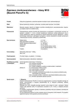 Zaprawa cienkowarstwowa – klasy M10 (Baumit PlanoFix G)