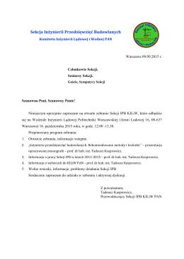 sekcja inżynierii przedsięwzięć budowlanych komitetu inżynierii