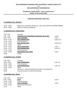 program - XXIV Konferencja Sekcji Klasyfikacji i Analizy Danych
