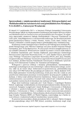 Sprawozdanie z międzynarodowej konferencji