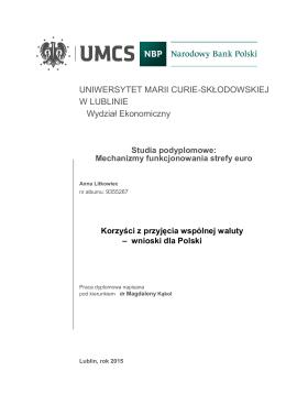 Korzyści z przyjęcia wspólnej waluty - wnioski dla Polski