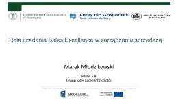 Rola i zadania Sales Excellence w zarządzaniu sprzedażą.