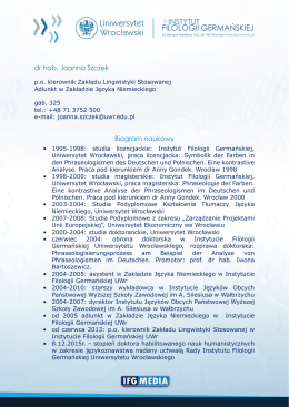 Pełny Biogram - Instytut Filologii Germańskiej Uniwersytetu
