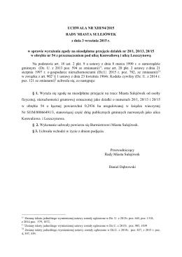 XIII/94/2015 w sprawie wyrażenia zgody na nieodpłatne przejęcie