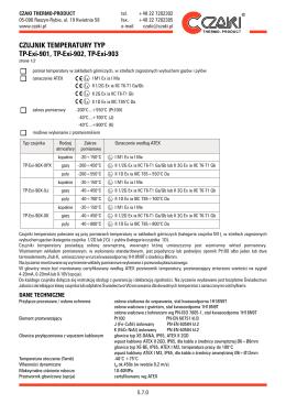 CZUJNIK TEMPERATURY TYP TP-Exi-901, TP-Exi-902, TP